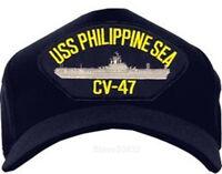 Uss Philippine Sea Cv-47 Baseball Cap Hat. Navy Blue. Made In Usa. E912.