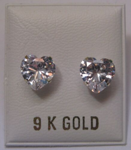 8mm Heart Shaped Cubic Zirconia 9Ct Gold Stud Earrings