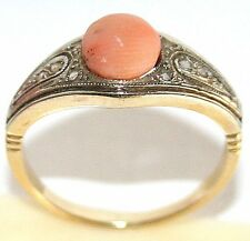 ANTIQUE FRENCH VICTORIAN R W 18K GOLD ROSE DIAMONDS ANGEL SKIN CORAL RING c 1900