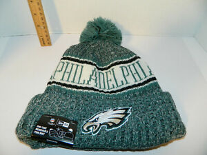bb7ec276e98 PHILADELPHIA EAGLES Knit Hat NFL New Era Winter Pom cuffed Beanie ...