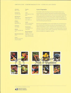 #2019 (55c} (Forever) Fruits and Vegetables #5484-#5493 Souvenir Page