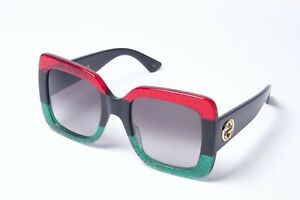 2c9872ff341015 Image is loading Gucci-GG0083S-001-Black-Green-Red-Grey-Square-