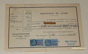QUITTANCE-de-LOYER-du-1er-juillet-1960-TIMBRE-Fiscal-de-50-et-100-francs-0-25c