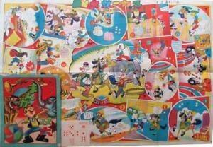 Sugoroku-Tabla-Juego-Comedia-Circo-Divertido-Imagenes-de-Payasos-y-Animales
