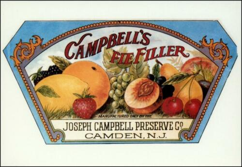 Pre-Campbell/'s Soup New! 6 Campbell/'s Preserves Early Label Postcards!