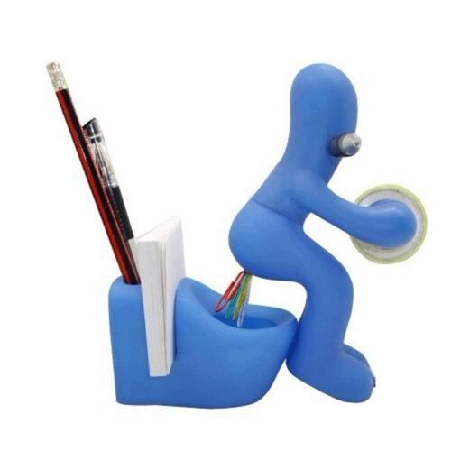 Office Supply Station Desk Tape Dispenser Pen/Paper Holder + Tape +10 Paperclip