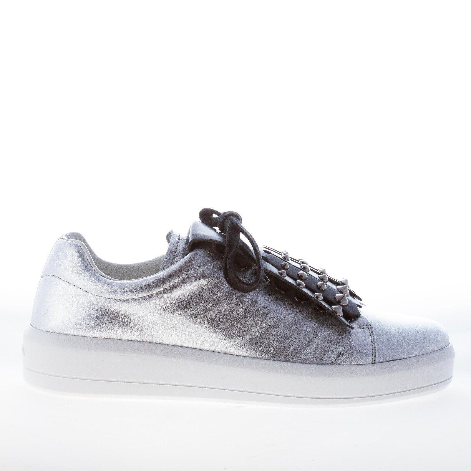 PRADA damen damen damen schuhe shoes Silver metallic leather sneaker black studs fringe b149bd