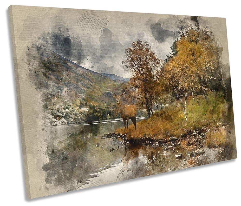 Stag Highlands Deer Deer Deer SINGLE CANVAS WALL ARTWORK Print Art 0a78bc