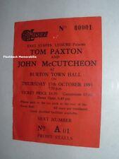 TOM PAXTON / JOHN McCUTCHEON 1991 Concert Ticket Stub BURTON TOWN HALL U.K. Rare