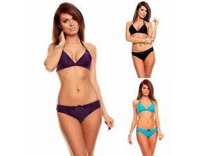 wie man kauft letzte Veröffentlichung Modestile Details zu Damen Neckholder Bikini Set Triangel Badeanzug Bademode Slip  Beachwear Push Up