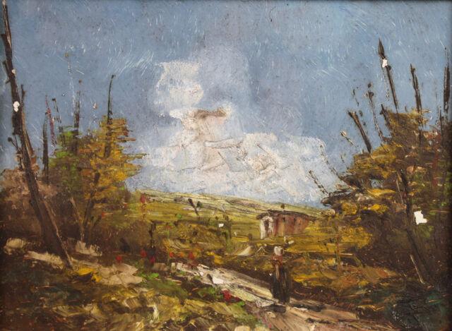 Landscape D'Italia or Corsican Signature Callari Oil on Wood Plate Holder