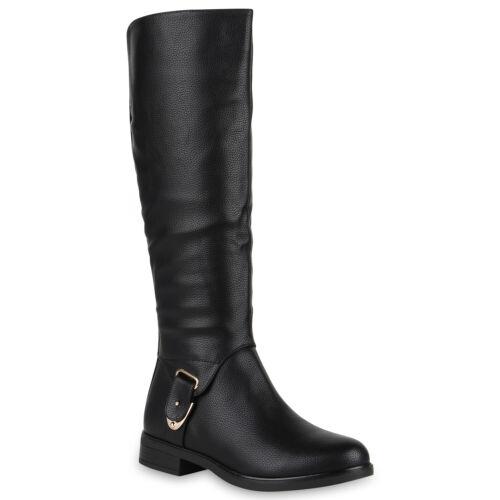 894358 Damen Reiterstiefel Schuhe Stiefel Leder Optik Metallic Trendy