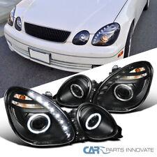 Fits 01-05 Lexus Altzza IS300 Black Bezel Halo Projector DRL LED Headlights Pair
