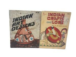 VTG-Indian-Craft-And-Lore-Art-Book-Lot-Of-2-A-Golden-Book-Daisy-1954-1975-Good