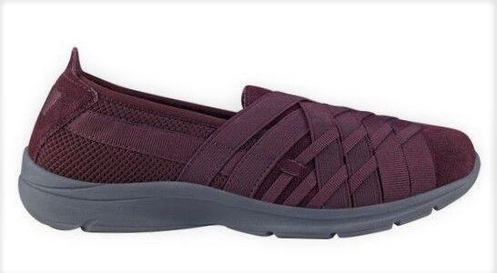 Easy Spirit Queenie athletic walking shoe suede woven GEL ROT wine 7.5 Med NEU