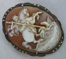 Antico 800 Grade argento e marcasite SHELL CAMEO SPILLA 3,2 cm x 4 cm 7.5 g