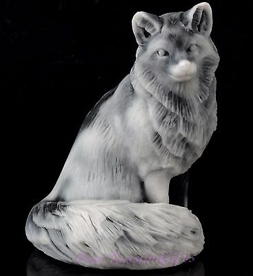 Sitting Fox Marble Figurine Russian Stone Art Animal Sculpture Statue 2.4""