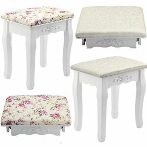 Image Is Loading White Amp Rose Vintage Dressing Table Stool Padded