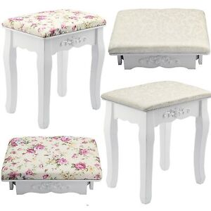 Image Is Loading White Amp Rose Vintage Dressing Table Stool Padded