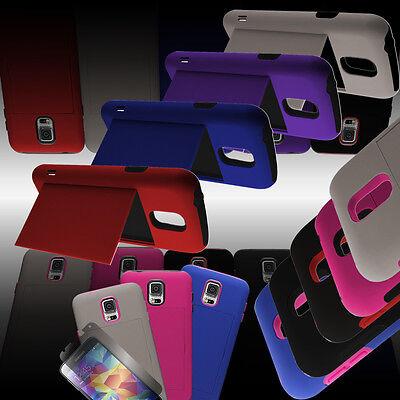 For Samsung Galaxy S5 - Credit Card Slot Holder Hybrid Kickstand Phone Case