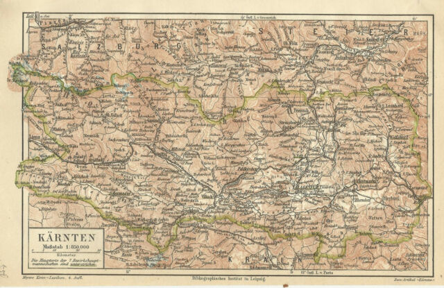 1887 Kärnten Österreich Alte Landkarte Karte Antique Map Carinthia Austria