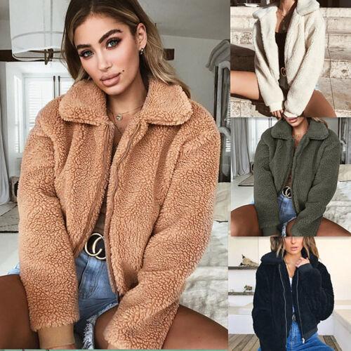 Women/'s Winter Fluffy Faux Fur Long Sleeve Jacket Warm Outerwear Coat Pocket