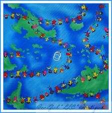 BonEful Fabric FQ Cotton Quilt International Map Small World Disney Kid Adoption