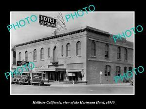 OLD-LARGE-HISTORIC-PHOTO-OF-HOLLISTER-CALIFORNIA-VIEW-OF-HARTMANN-HOTEL-c1930