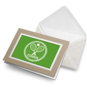 Greetings-Card-Biege-Tennis-Theme-Sports-Racket-Ball-5548
