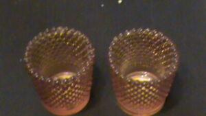 Amber-Glass-Hobnail-Tea-Light-Votive-Candle-Holder-PAIR-DT1