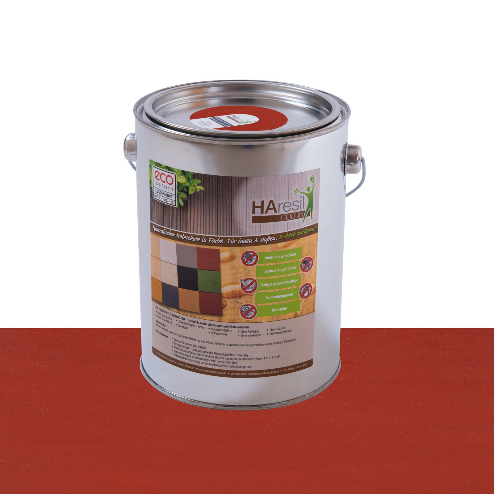 Bio Holzschutz Außen Haresil Farbe rostrot schützt vor Holzwurm,Pilze,Termiten