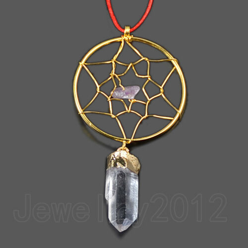 Natural Clear Crystal Dreamcatcher Healing Reiki Chakra Silver Gold Pendant Bead