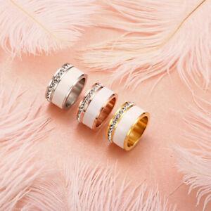 Edelstahl Ring Strass Silber Rose Gold Keramik Fingerring Weiß