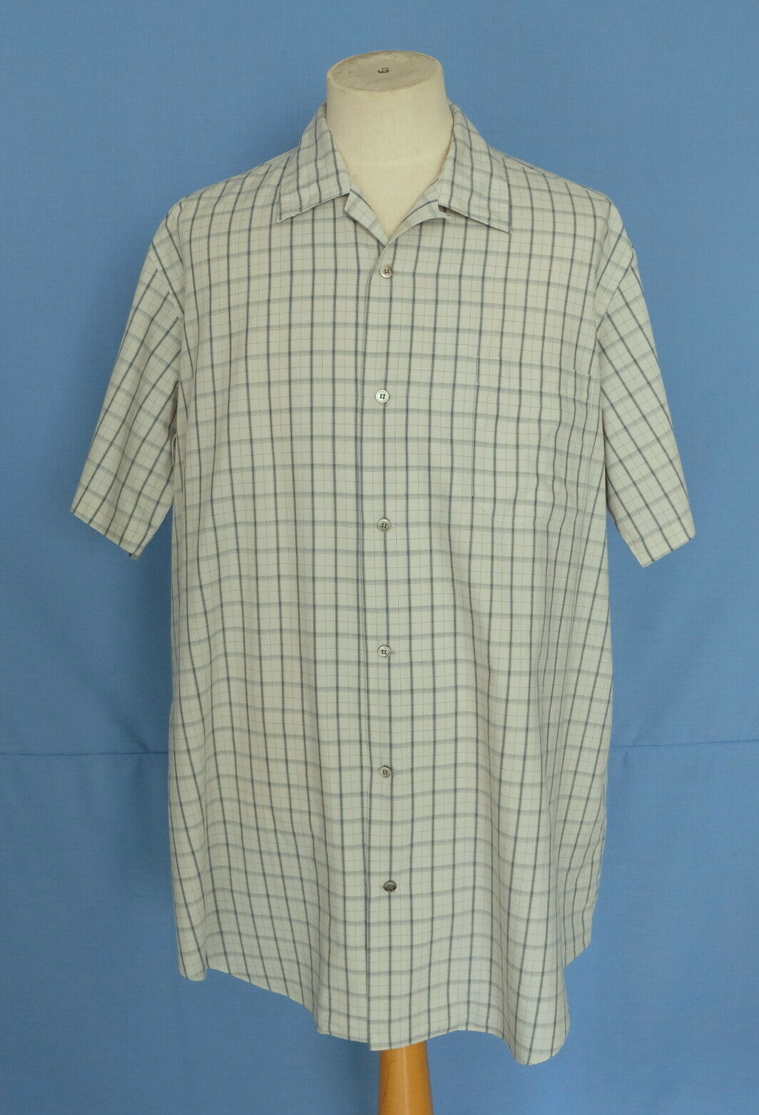 Yohji Yamamoto Y's for men Plaid Cotton Loop Collar Men Shirt Short Sleeves XL