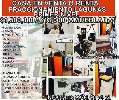 RENTO CASA AMUEBLADA Ó VENTA, FRACCIONAMIENTO LAGUNAS.