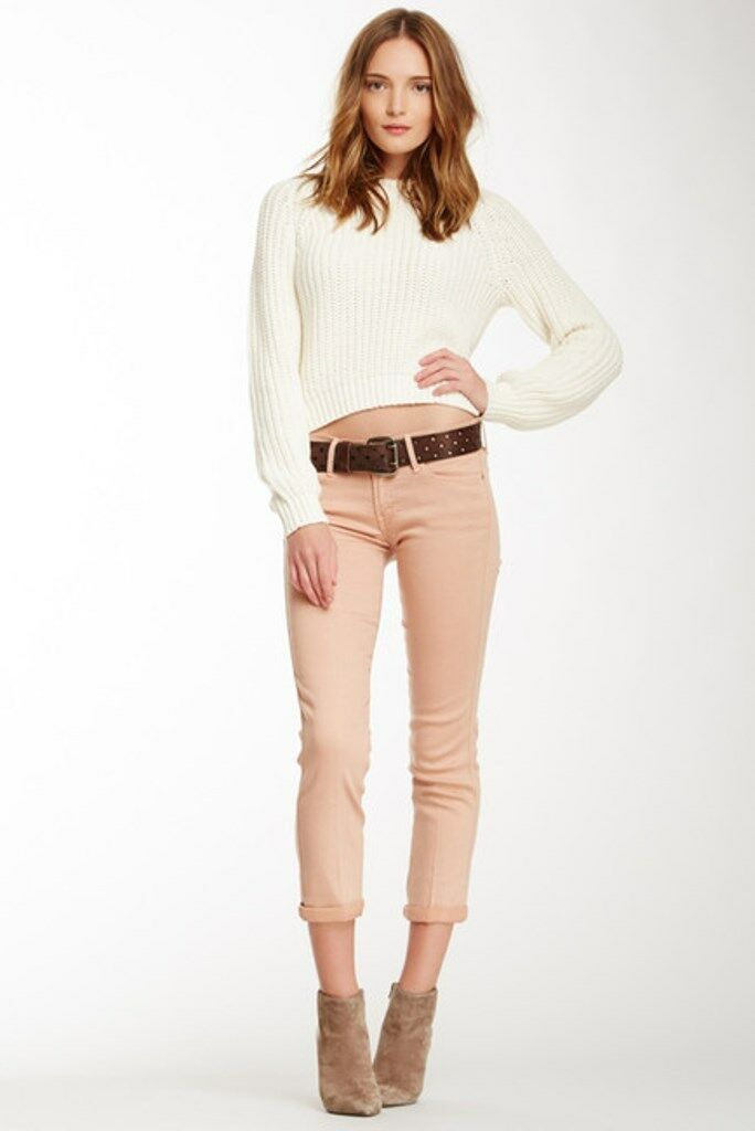185 MOTHER DENIM The Rascal Cuff POP  Just Peachy SKINNY LEG Jeans 26