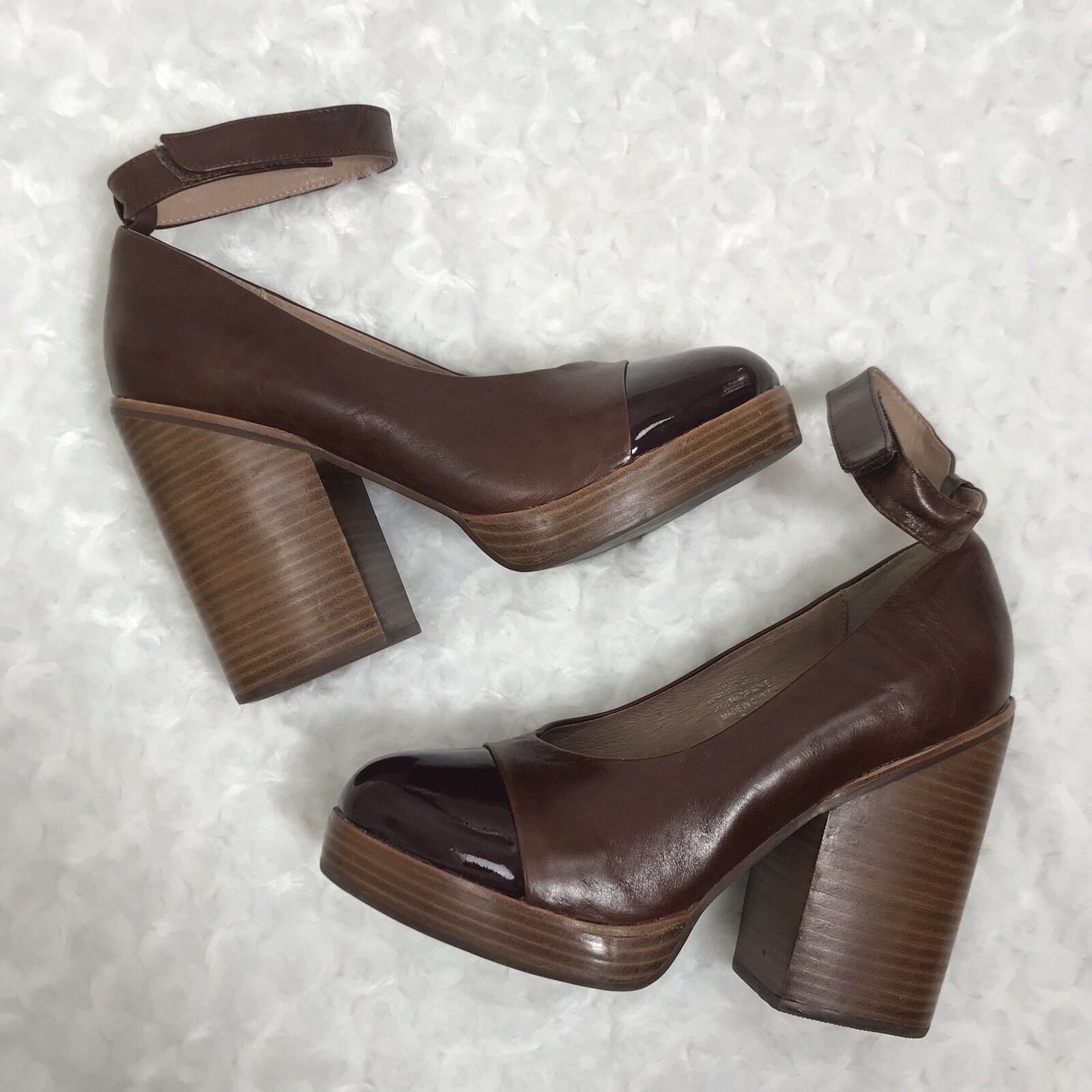 Jeffrey Campbell 8.5 Braun Leder Wooden Rothes Platform Stacked Pump High Heel