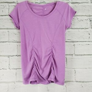 Zella Z 6 Rouched Tee Shirt Sleeve Workout Top Womens Large Polyester Blue