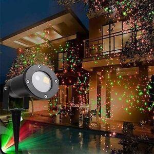 Proiettore Luci Laser Natalizie.Dettagli Su Proiettore Luci Di Natale Laser Per Esterno E Interno Con Picchetto Da Te
