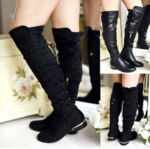 THE KNEE HIGH LACE UP ZIP BOOTS UK SIZE