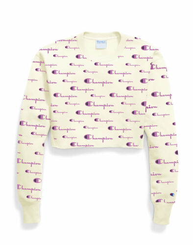 Champion Life Cropped Cut Off Sweatshirt Womens Reverse Weave Crew All-Over Logo