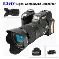 Polo D7200 Digital Cameras 33mp Dslr Cameras+3 Lens 1080p Camcorder Multi-media