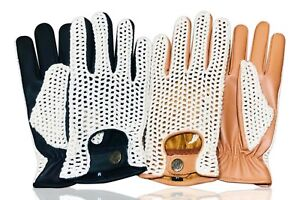 REAL-LEATHER-CROCHET-MESH-UNLINED-MEN-039-S-FASHION-DRIVING-GLOVES