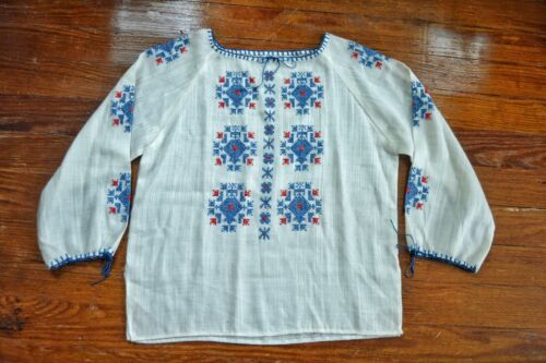 Vintage 1930's Hungarian Cotton Embroidered Blouse - image 1