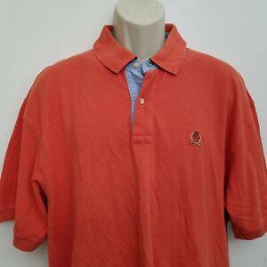 Tommy-Hilfiger-Mens-Polo-Shirt-XL-Orange-Short-Sleeve-100-Cotton
