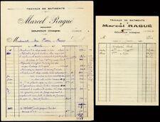 █ Factures Marcel Ragué à Dounoux (Vosges) 1948-51 Menuisier Menuiserie █