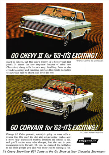 CHEVROLET 63 CHEVY II CORVAIR RANGE RETRO A3 POSTER PRINT FROM ADVERT 1963