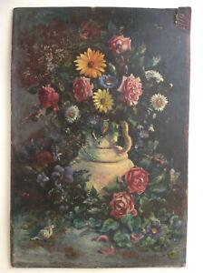 Tableau-Ancien-Huile-Impressionniste-Superbe-Bouquet-de-Fleurs-A-Restaurer-c1908