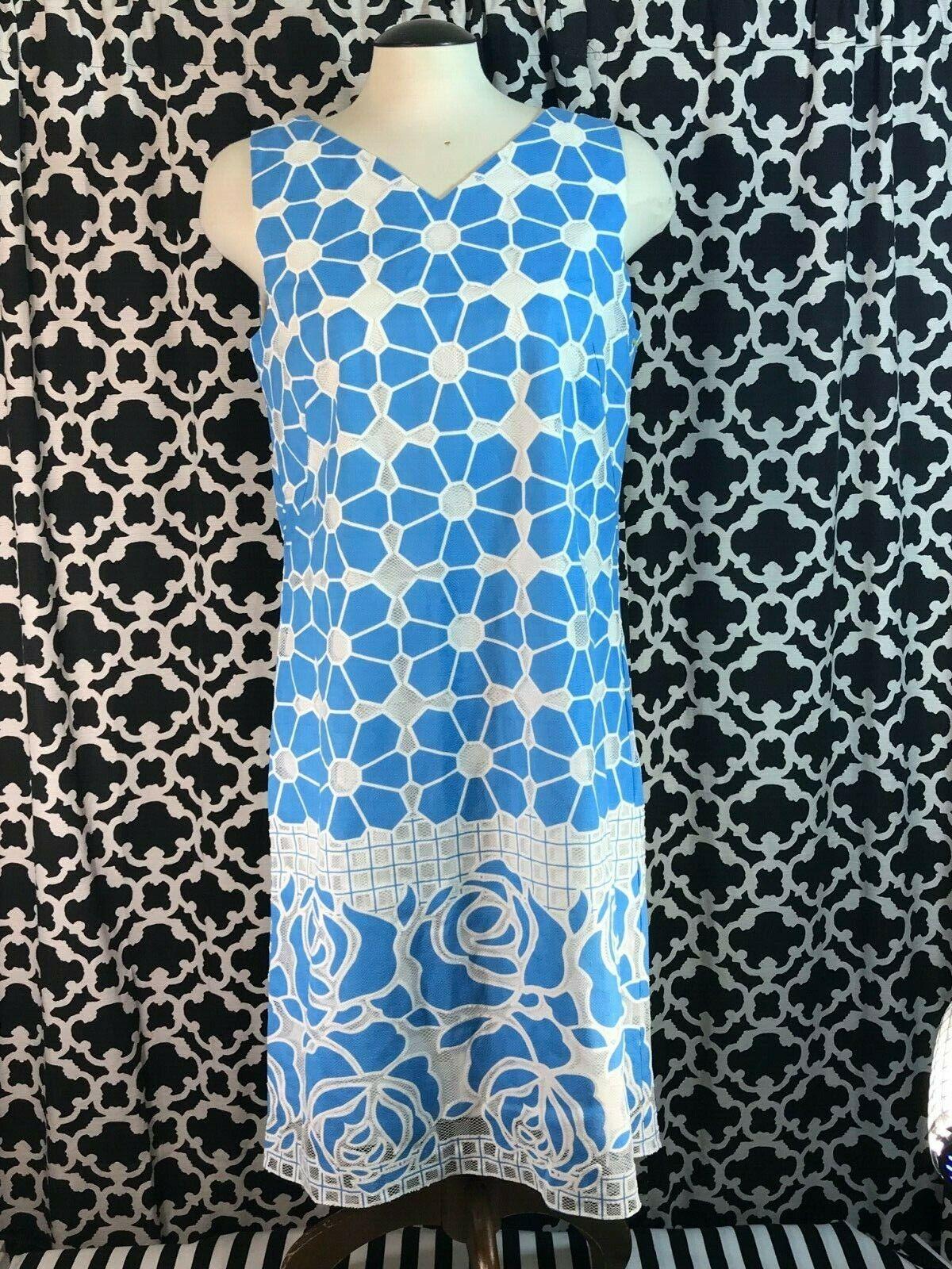 J. Mclaughlin Mori Blau Weiß Sleeveless V-neck Lace Shift Dress - Sz. 10 - NWT