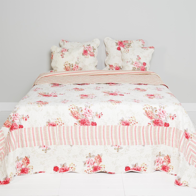 Clayre & eef Plaid Bedspread Coupling Bedspread Shabby Vintage 180x260c pink